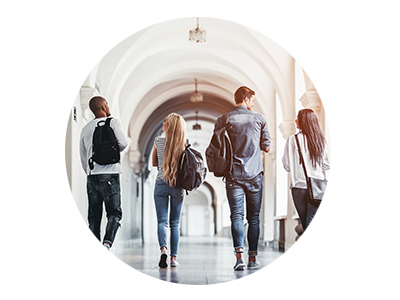 Group of teens walking down hallway